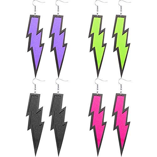 4 Pairs Women 80s Earrings Retro Earrings Dangle Earrings Neon Earrings for 80s Party Costume Accessory (Color Set ()