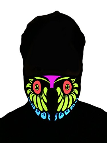 [Flashing El Panel LED Party Costume Mask (Owl)] (Mens Owl Costumes)
