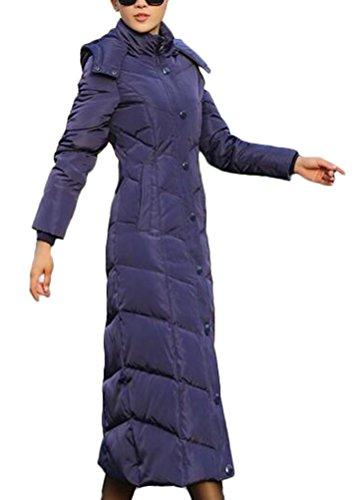 Brinny Longue Rembourr Veste  capuche dtachable Doudoune Slim fit Femme paisse Matelass Manteau Parka d'hiver Bleu