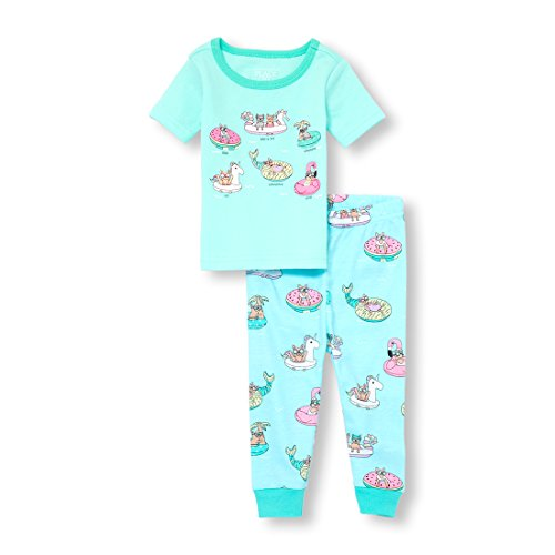 The Children's Place Baby Girls 2-Piece Pajama Set, Arctic Ocean, 12-18MOS