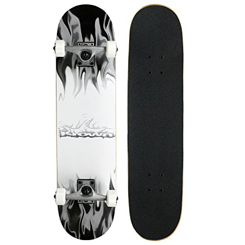 - Krown Rookie Complete Skateboard,Grey/White Flame