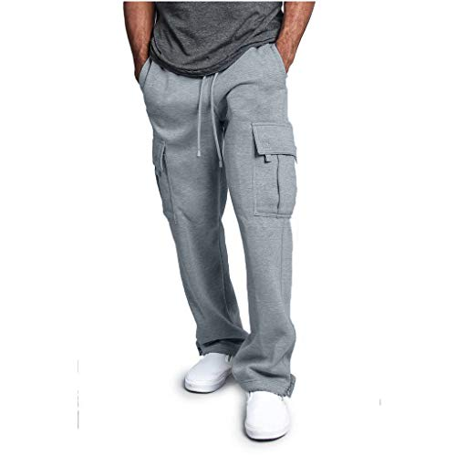 Men's Gym Fitness Workout Pants Bodybuilding Cargo Jogger Pants Chino Trousers Sweatpants Drawstring Working Pants Gray