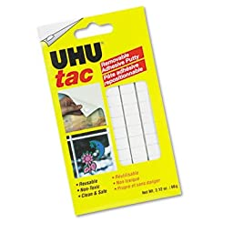 UHU Products - UHU - Tac Adhesive Putty, Removable/Reusable, Nontoxic, 2.12 oz/Pack - Sold As 1 Pack - Hang posters, charts, memos, decorations and more without leaving holes. - Adheres to most surfaces without tacks, tape or glue. - Wont stain or dry ou