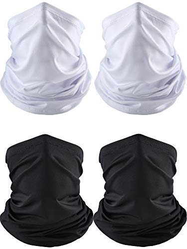 (4 Pieces Summer Bandana Face Mask Thin Neck Gaiter Cooling Sunblock Face Scarf (Color Set 3))