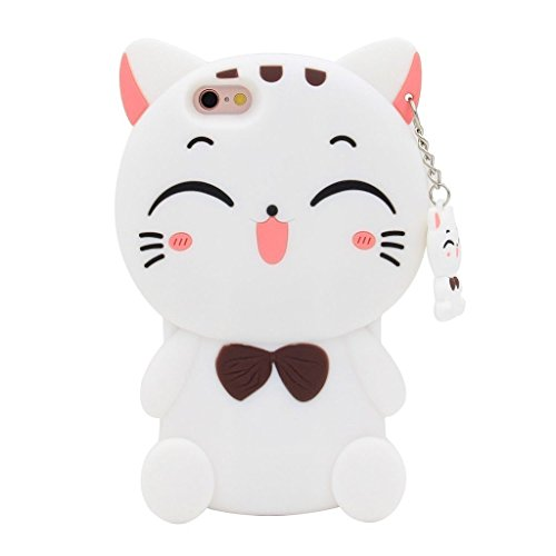 DiDicose iPhone 5 5S Case, iPhone 5C Case, iPhone SE Case,3D Cartoon Animal Wihte Lucky Fortune Plutus Cat Kitty Silicone Rubber Phone Case Cover for Apple iPhone 5 / 5S / iPhone 5C / iPhone SE (5 Iphone Kitty Case)
