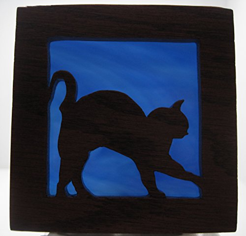 Stain glass night light Cat fun silhouette Handmade in the USA