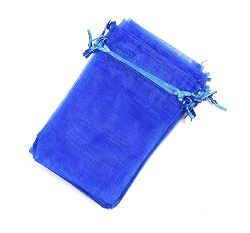 EDENKISS Brand Quality Drawstring Organza Jewelry and Accessory Pouch Bags (Royal Blue, 5X7'')