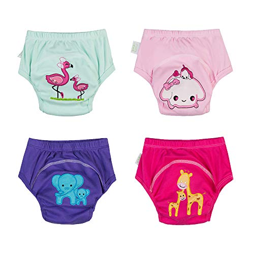 Babyfriend Baby Girls Washable 4 Pack Child Toilt Training Pants Kids Underwear