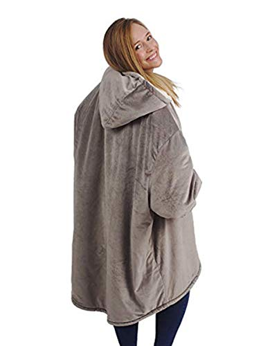 Hooded Reversible Sweater - GEMLON Adults Children Luxurious Blanket,Ultra-Soft Sweatshirt,Reversible,Hood Large Pocket,One Size (Brown)
