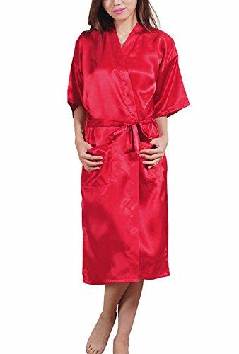 DELEY Unisex Pareja Mujeres Kimono Satén Seda Suave Dormir Peignoir Bata de Baño Albornoces Ropa de Dormir Camisones Rojo