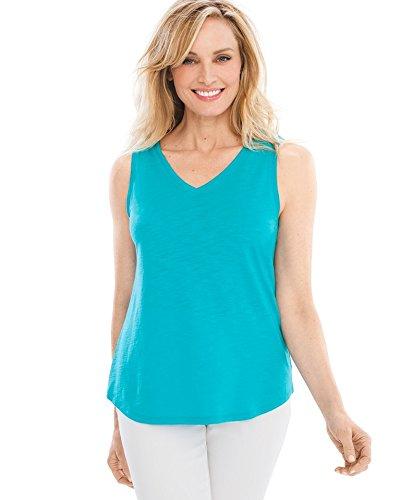 Chico's Women's Cotton Slub V-Neck Tank Size 12/14 L (2) Azul (Sleeveless V-neck Shell)