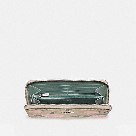 Coach Floral Print Logo PVC Accordion Zip Wallet in Khaki Blush Multi F26290 by Coach
