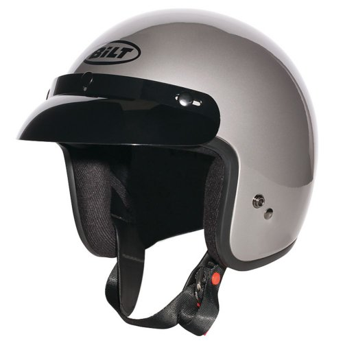 Gray Motorcycle Helmet (CUSTOM BILT Jet Open-Face Motorcycle Helmet - LG, Pearl Gray)