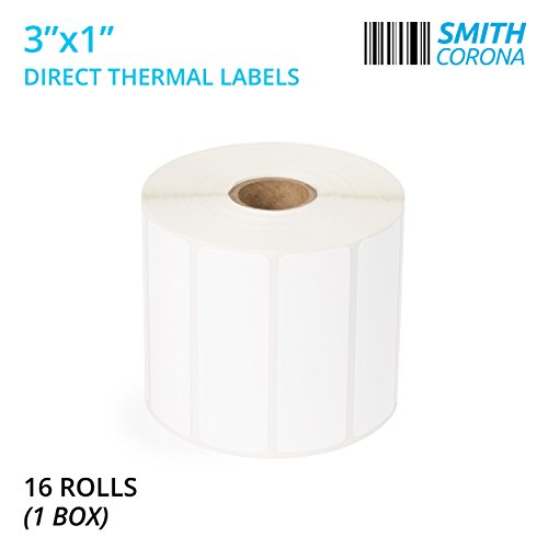 Smith Corona - 3 x 1 Direct Thermal Labels, 16 Rolls (1 Box) with 1350 Labels per Roll, Made in The USA, Perfect for 1 Core Zebra Printers