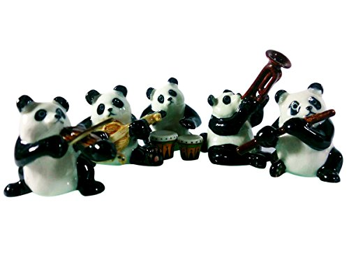 Sansukjai Set Panda Play Music Ceramic Hand Painted Animals Collectible Gift Home (Animal Crossing New Leaf Halloween Set)