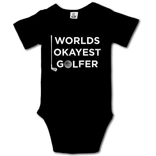 V5DGFJH.B Baby Toddler Climbing Bodysuit World's Okayest Golfer Black Infant Climbing Short-Sleeve Onesie Jumpsuit ()