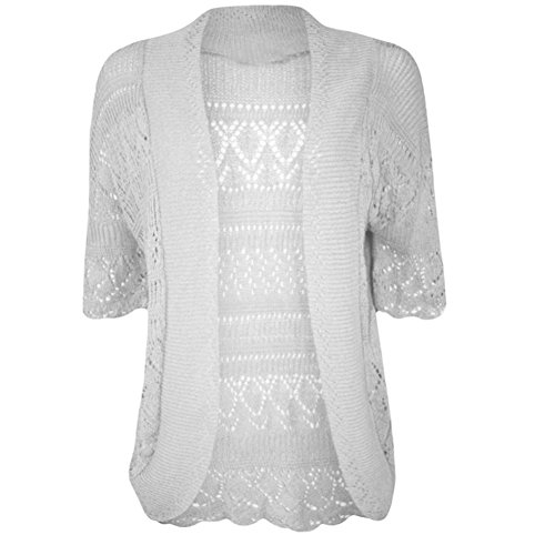 Women's Plus Size Crochet Knitted Short Sleeve Cardigan (USA 20-22 (UK 22-24), CREAM)