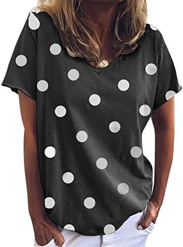 Onsoyours damski t-shirt top letni w kropki, jednokolorowy, okrągły dekolt, krÓtki rękaw, koszulka z krÓtkim rękawem, bawełniana: Odzież