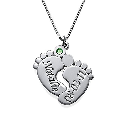AOCHEE Custom Name Necklace Personalized Baby Feet Birthstone Engraved Name Necklace Mother's Day Jewelry (Girl Angel Birthstone Charm)
