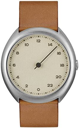 slow O 07 – Swiss Made one-hand 24 hour watch – Silver with brown leather band