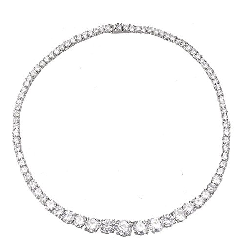 Rhodium Plated Earrings & Necklace Set-Zircon Bridal Wedding Necklace Earring Jewelry Set Round Cut withWomen Fashion Jewelry Set–Bridesmaids,Birthday,Anniversary Gifts For Women by Matashi (Image #6)