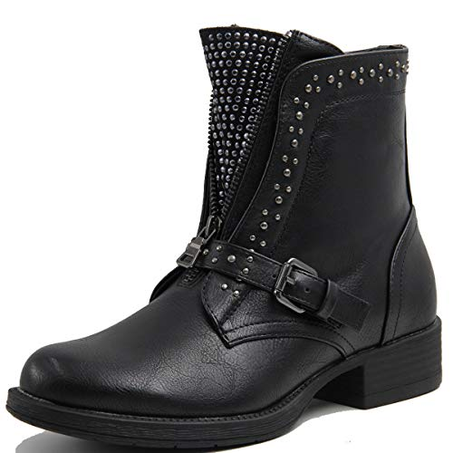 Stylish & Comfort Women's Front Buckle Studded Leather Spikes Biker Boots Front Zip Low Platform Chelsea Bootie Black ()