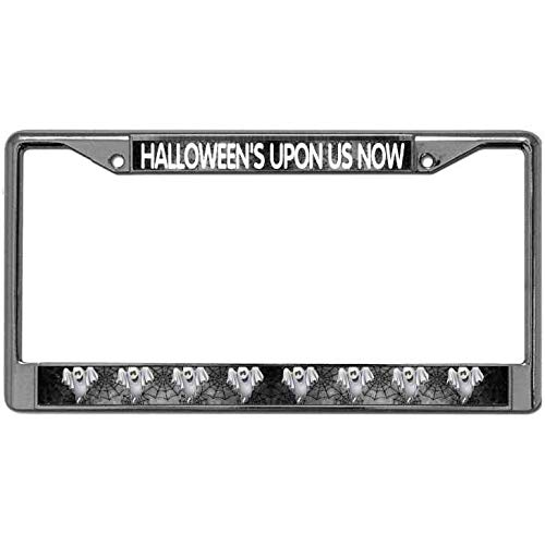 Aopengjianc License Plate Frame, Quality Metal Halloween'S Upon US Now License Plate Frame Stainless Steel Silver License Plate Frame Standard Size for US Car ()