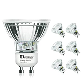 LED GU10 Spotlight Light Bulbs, 50 Watt Equivalent, 5.5W Dimmable, MR16 Full Glass Cover, 2700K Soft White, 25000 Hours, UL Listed, Energy Star Certified, by Mastery Mart (Pack of 6)