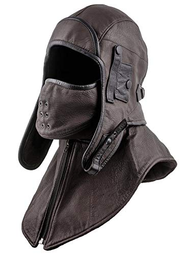 Mens Aviator Bomber - Sterkowski Siberia Genuine Leather Aviator Cap with Mask and Collar US 7 3/8 Brown/Black