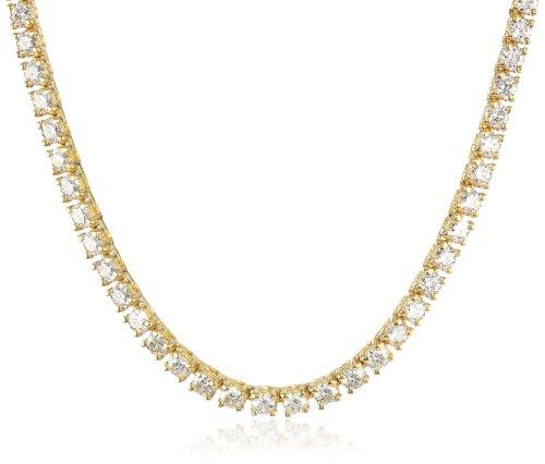 IGI Certified 14K Yellow Gold Diamond Tennis Necklace (7....