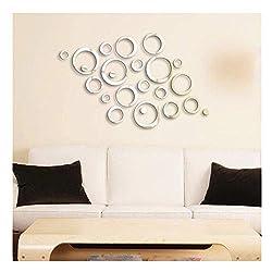 24 Shining Circles Mirror Fashion Modern Design Silver Mural Art Home Office Wall Sticker Decor