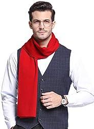 RIONA Men's 100% Australian Merino Wool Scarf Knitted Soft Warm Neckwear with Gift