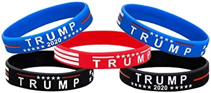 100 Pcs Trump MAGA Merchandise for President 2020 Silicone Bracelets Inspirational Motivational Wristbands Red