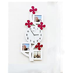 YSRHome Silent Non Ticking Vintage Modern Decorative 14-Inch Photo Frame Fashion Children's Room Wall Chart White Wall Clocks for Living Room Bedroom Kitchen Office, Easy to Read