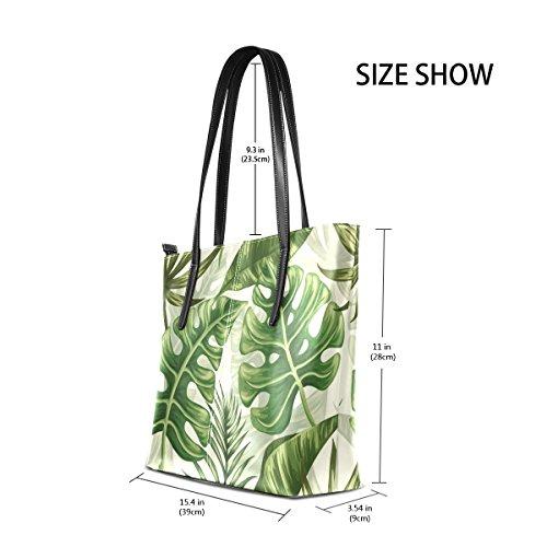 COOSUN Palm Leaves Pattern PU Leder Schultertasche Geldbörse und Handtaschen Tasche für Frauen Pmh1lMT2ql