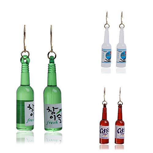 Earrings Fashion Beautiful Wine Bottle Pendant Earrings Jewelry Accessories Suitable for Women 3 pairs