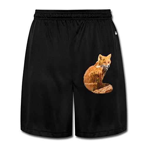 linna-mens-new-style-double-exposure-fox-with-nature-short-sweatpants-size-xl-black