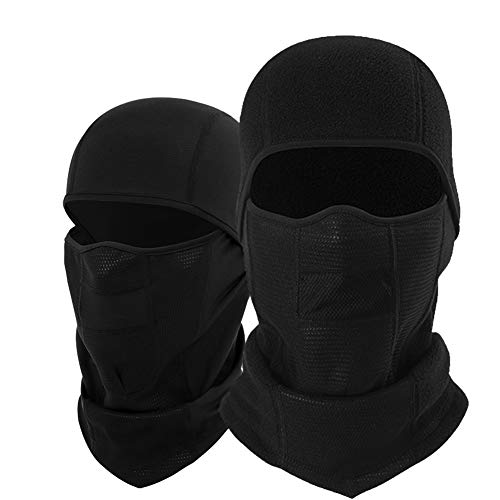 Balaclava Windproof Ski Mask Adjustable Half Face fleece Hood Head Warmer for Men Skiing, Cycling, Motorcycle Outdoor Sports Tactical Black,2-Pack by Lovidea