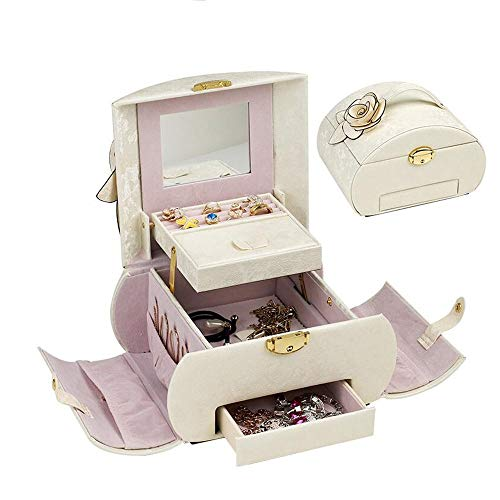 Cuff White Pendant - JIANGYING Jewelry Boxes Jewelry Box,Necklace Ring Storage Organizer, Large Jewel Cabinet Gift Case - 3 Layer- Large Mirror-1 Drawers, for Cufflinks, Rings, Pendants, Chain (Color : White)