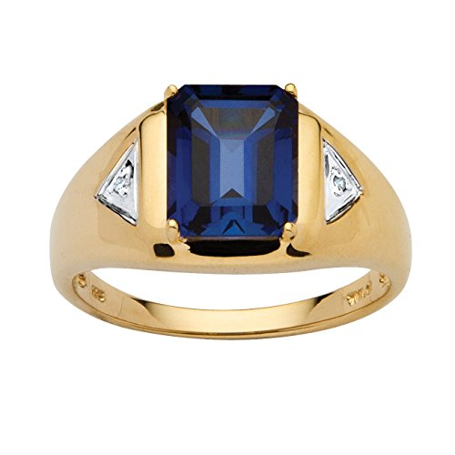 Men's Emerald-Cut Lab-Created Blue Sapphire Diamond Accent 18k Gold over .925 Silver Ring