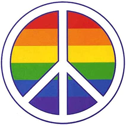 amazon com rainbow pride peace sign sticker decal automotive