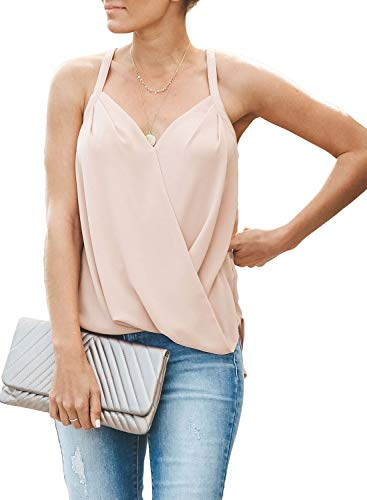 - Tiksawon Tank Tops for Womens Drape Wrap Front Pleated Spaghetti Sleeveless Flowy Chiffon Cami Blouses Shirts Apricot S
