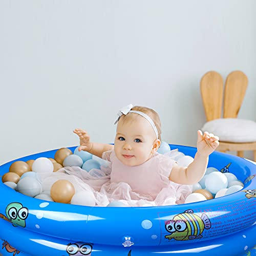 eulogize Inflatable Kiddie Pool for Backyard, Kids Swimming Pools for Baby Toddler Kids, Indoor and Outdoor Water Game Play Center for Summer(51X15.7inches)