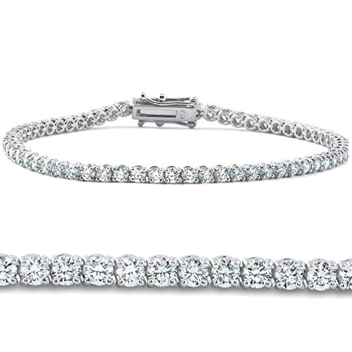 4ct Diamond Tennis Bracelet 14K White Gold 7