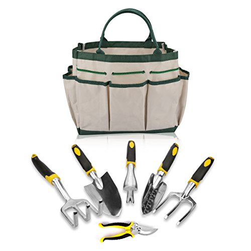 Energup Gardening Tool Set for Digging Planting Gardening Kit with Heavy Duty Cast-aluminum Heads & Ergonomic Handles 6-Pieces Each Set