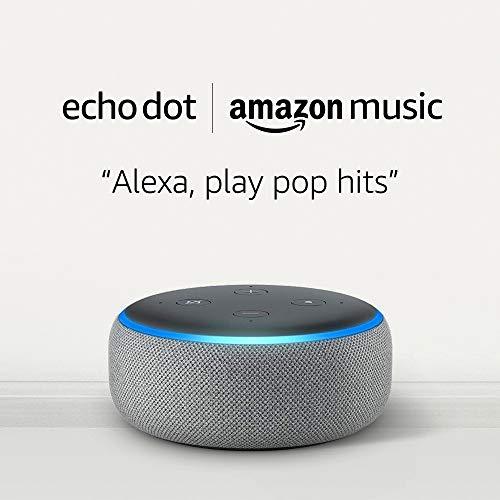 Echo Dot (3rd Gen) - Smart speaker with Alexa - Heather Gray + Amazon Music Unlimited (6 months FREE w/auto-renew)