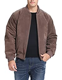 Men's Suede Leather Baseball Bomber Jacket (Regular Big & Tall)