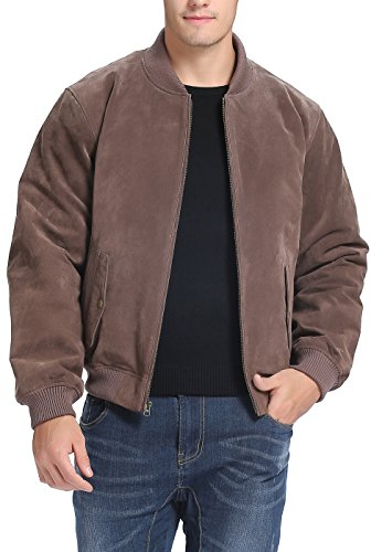 BGSD Men's Suede Leather Baseball Bomber Jacket,Brown,Medium