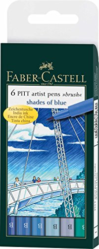 Faber-Castell India Ink Pitt Artist Pens, Set of 6 Brush Tip (B), Shades of Blue (FC167164)