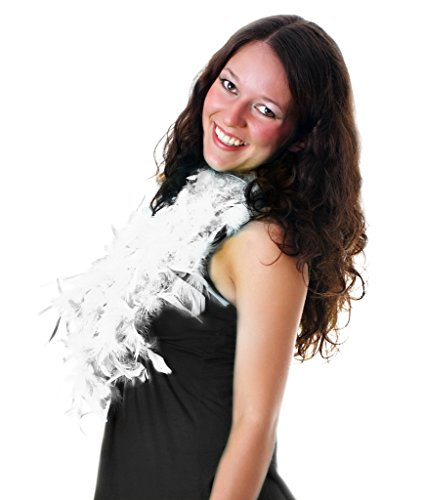 Fun Central AU140, 1 Pc, 6 Ft, White Adult Feather Boa, Neck Fur, Shawl, Scarf and Wraps, Feather For Crafts, Costume Party Accessories for Mardi Gras, Easter and Themed Parties